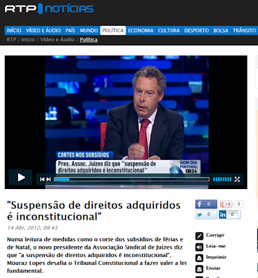 Entrevista RTP a Mouraz Lopes; Entrevista RTP; Entrevista; RTP; Entrevista RTP presidente da Associação Sindical dos Juizes; Subsidio Natal; Subsidio de Férias; Tribunal Constitucional; Inconstitucional