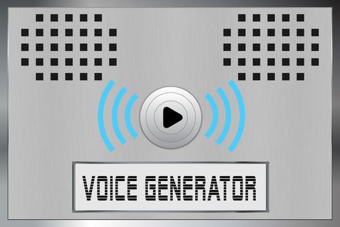 Descrição da imagem: a tela de um iPad. Nos cantos superiores esquerdo e direito desenhos de pequenos furos como se fossem saídas de som. No centro um centro um botão redondo com o símbolo play e ondas de som em azul do lado direito e esquerdo. Abaixo um retângulo branco no qual está escrito em preto Voice Generator. Fim da descrição.