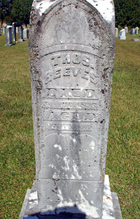 Gravestone of Thomas Reeves in Herring Cemetery, Morgan County, Alabama