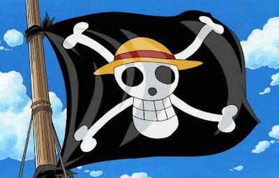 Bendera Bajak Laut Topi Jerami di Tiang Kapal