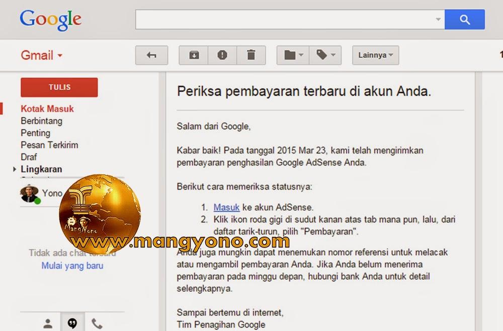 Email pemberitahuan pembayaran Google Adsense