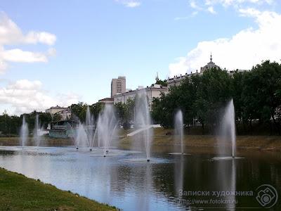 Казанский парк Черное озеро, фонтаны