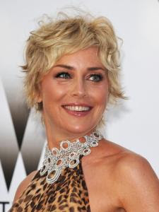 Sharon Stone Messy Pixie Hairstyle