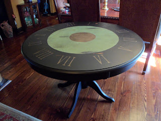 black green and gold clock face table