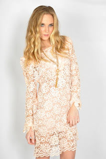 Vintage 1980's nude lace mini dress with long sleeves