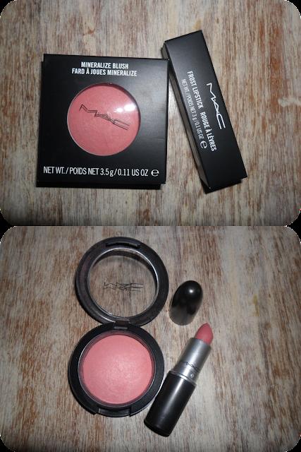 mac dainty mineralize blush, mac angel lipstick, dainty blush, angel lipstick