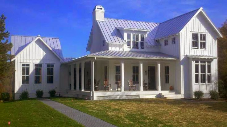 Inspired design inspired design white farmhouses for Farmhouse metal roof