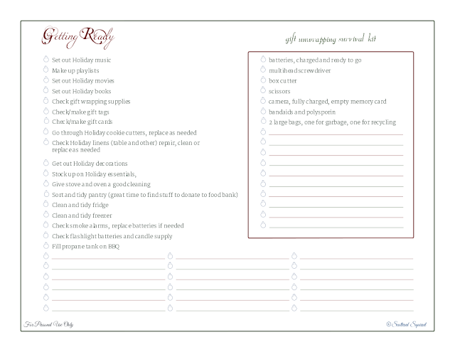 free printable, holiday planner, checklist, things to do, list, gift unwrapping kit checklist