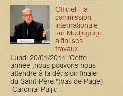 Medjugorje actualités Officiel : la commission internationale sur Medjugorje a fini ses travaux.