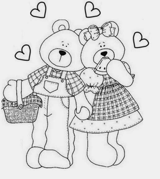 Desenhos de Ursinhos - Apaixonados - Desenhos para colorir