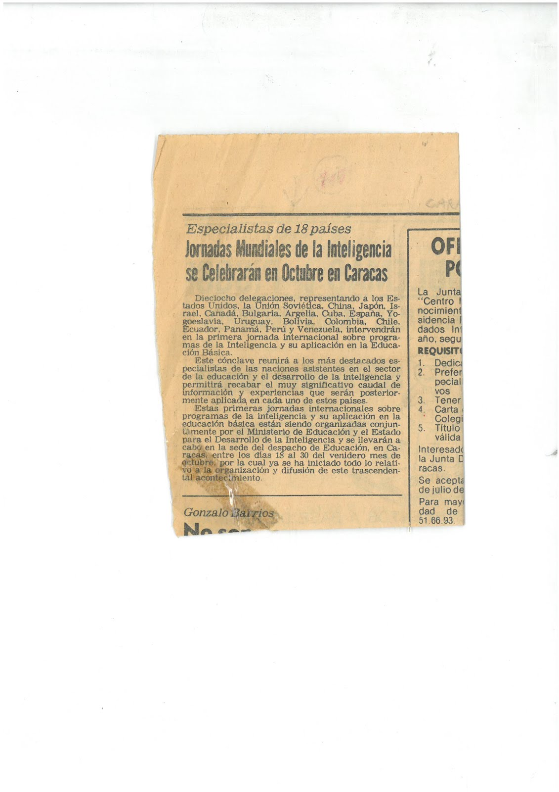 15- Periódico El Universal,18/07/1982 anunciando que vienen 18 delegaciones de científicos (de EEUU