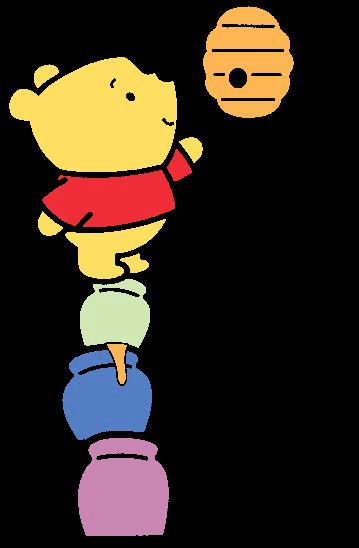 Desenho Pooh baby fofinho com mel colorido com fundo transparente