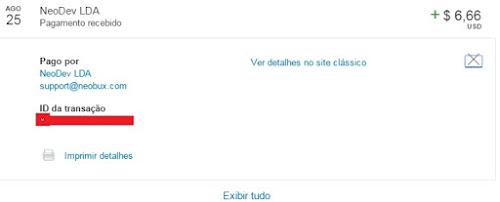 Pagamento Neobux $6,66