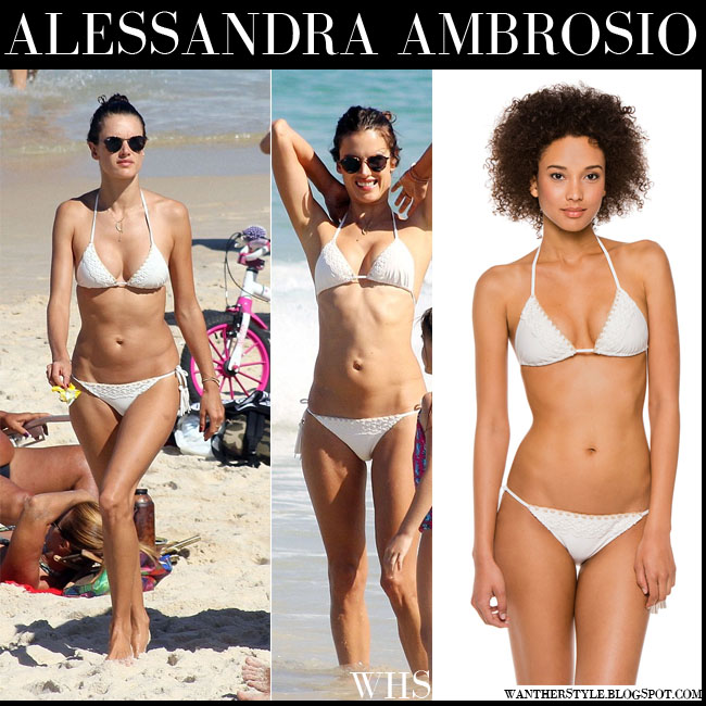 Alessandra Ambrosio in white two piece triangle bikini ale by alessandra what she wore july 14 beach