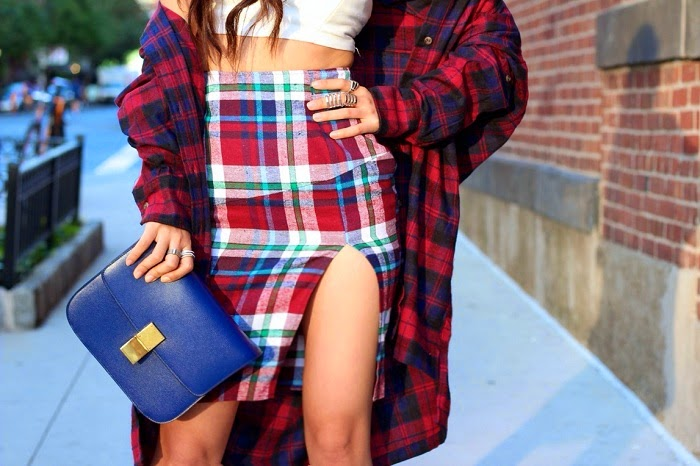 nastygal,plaid,skirt,shirt,slit,sexy,celine,paris,classicbox,nyc,streetstyle,schutz,laceup,altuzarra,trend,stylish,plaidonplaid,doubleplaid,madforplaid