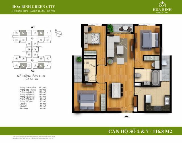 chung cư Hòa Bình Green City Căn hộ số 2 , 7 dt 116.8m2