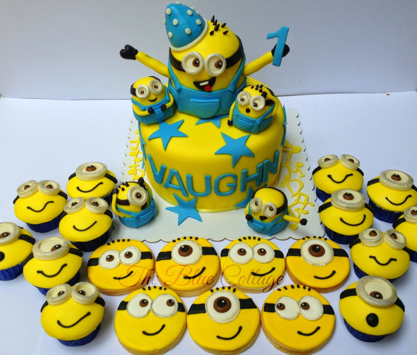 Fondant Birthday Cake Cupcakes And Sugar Cookies Despicable Me Minions