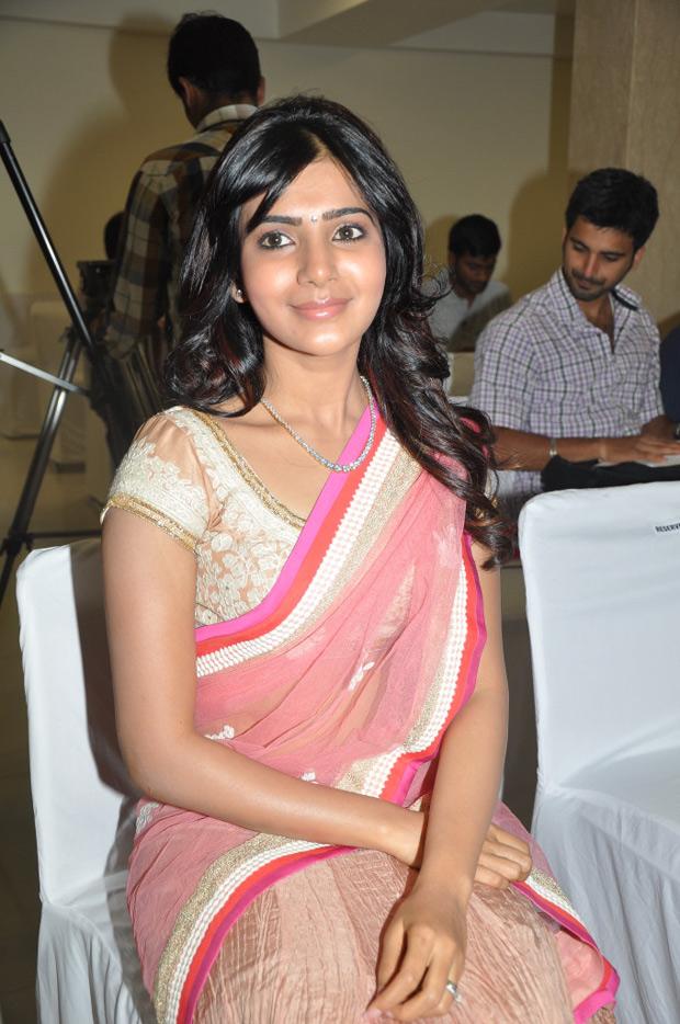 Samantha at kirtilals in pink saree