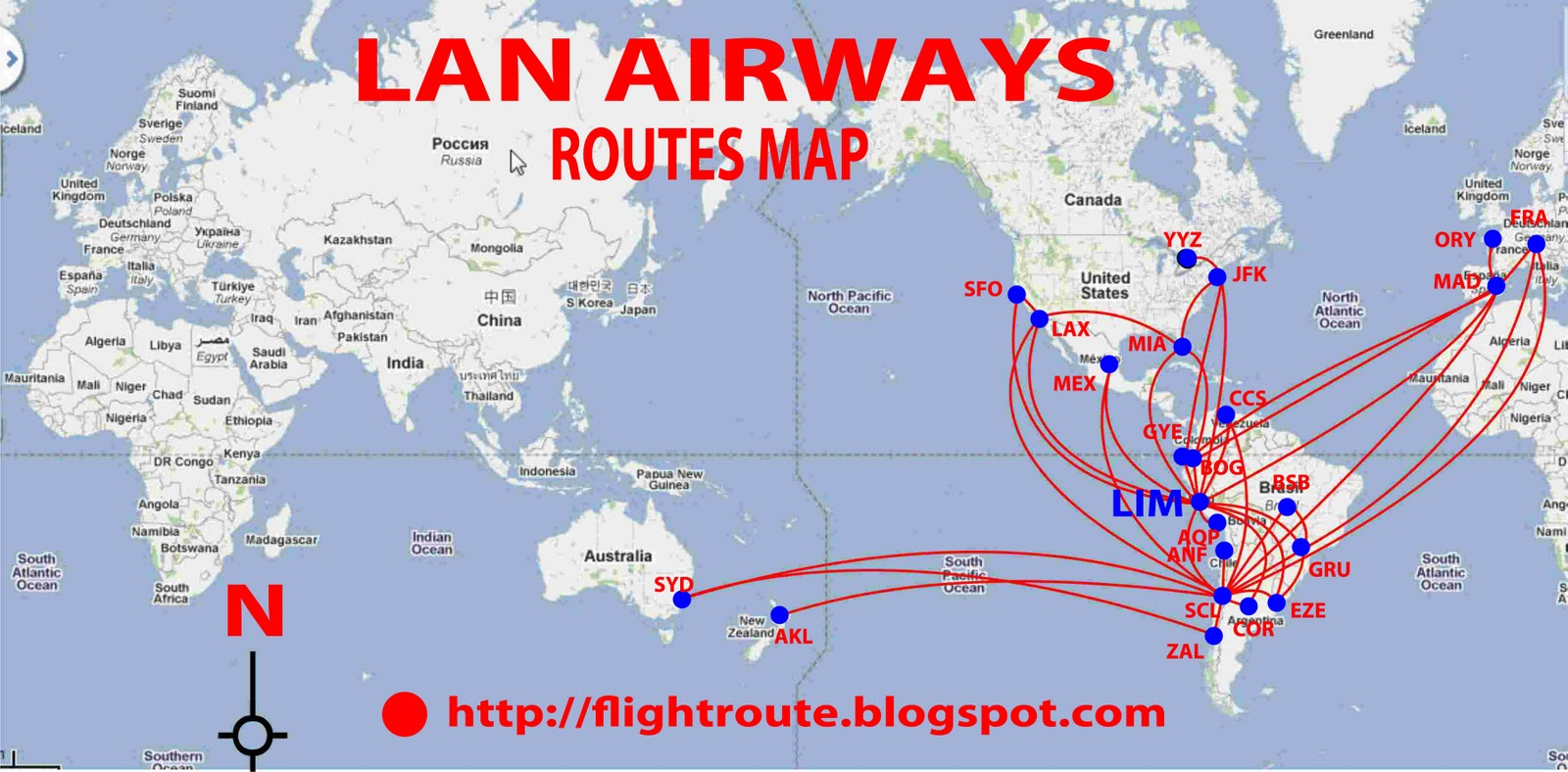 Routes map 2011 lan airlines routes map sciox Images