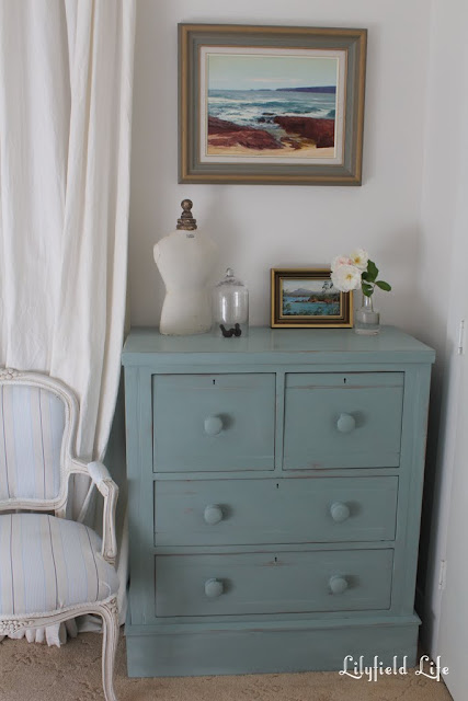 blue green chest of drawers for sale sydney kauri pine painted Lilyfield life Hand Painted french vintage second hand furniture sale, sydney