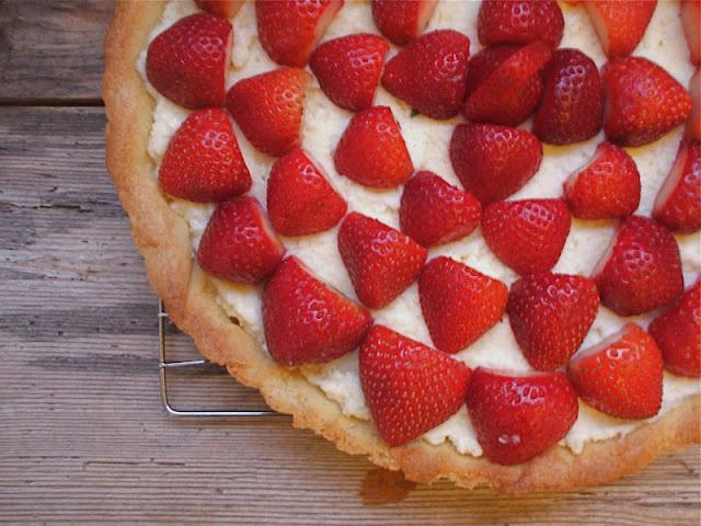 Strawberry Mascarpone Tart with an Almond Shortbread Crust
