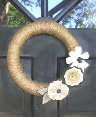 Jute Wreath with Burlap Flowers