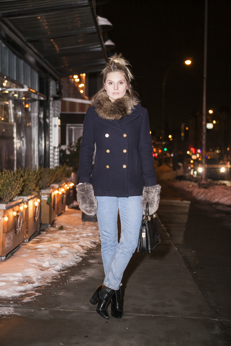 Fashion Over Reason, fur collar, Jcrew majesty pea coat, Monki mom jeans, Pour la Victoire booties, vintage bag