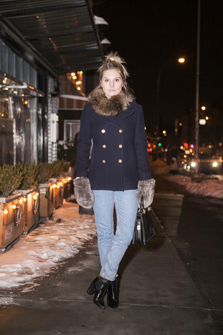 Fashion Over Reason, fur collar, Jcrew majesty pea coat, Monki mom jeans, Pour la Victoire booties, vintage bag