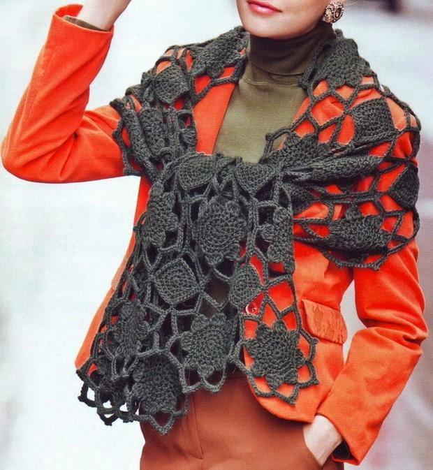 Красивый ажурный шарф крючком