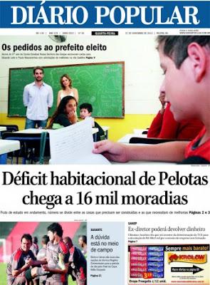 Capa do DIário Popular de Pelotas em 21 de novembro de 2012