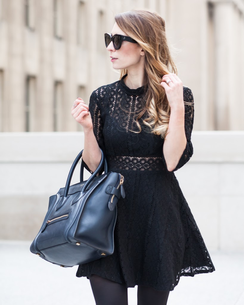 OOTD - Black Lace Dress + C��line Luggage Tote | La Petite Noob