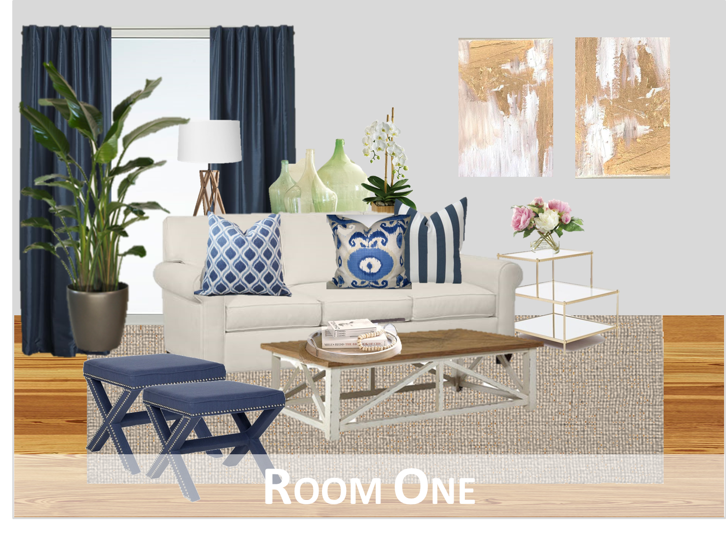 Room One Here We Brought In Color Through The Navy Curtains Stools And Patterned Blue White Throw Pillows Rest Of Is Very Neutral