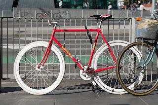 ken evans,  bicycle, the biketorialist, biketorialist, bike, fixed speed, red, frame, tim macauley, timothy macauley, model, frame, Melbourne, Victoria,  Australia, wheels, rims, brakes, lug, lugging, brakes, red, chrome, columbus tubing, saddle,