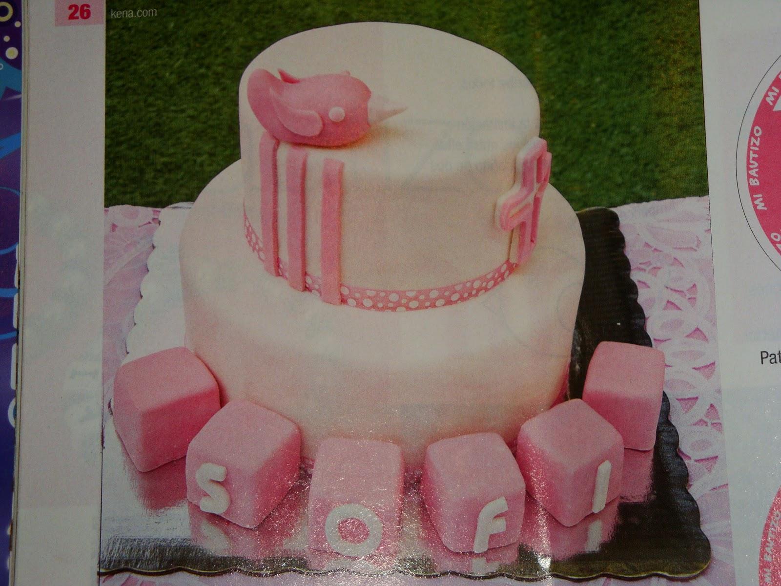 Mi Torta Bella: Torta de Bautismo Rosada con Paloma