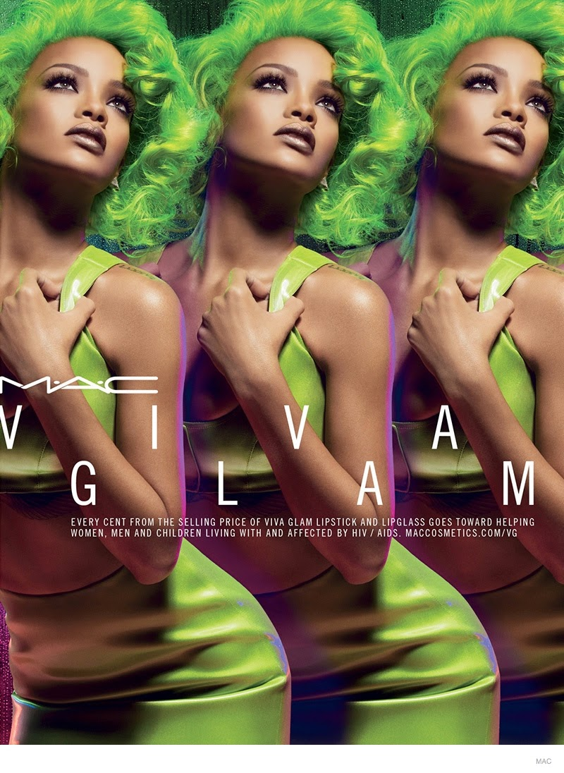 Rihanna rocks green hair for the MAC Viva Glam Fall 2014 Campaign