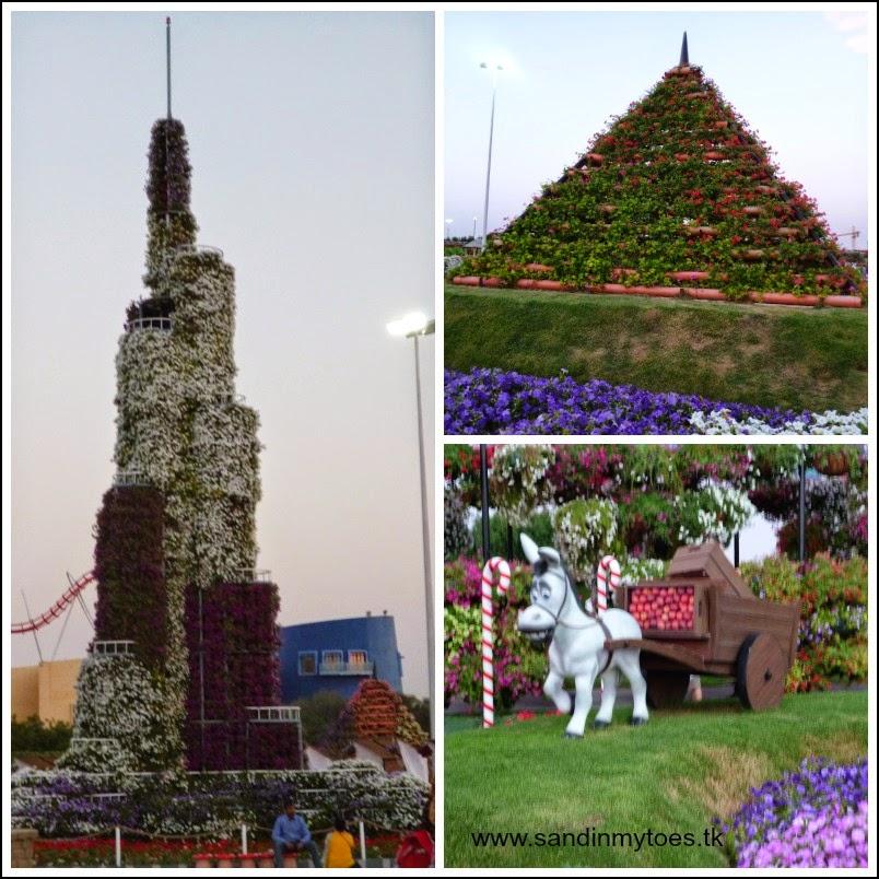 Dubai Miracle Garden Burj Khalifa and pyramids