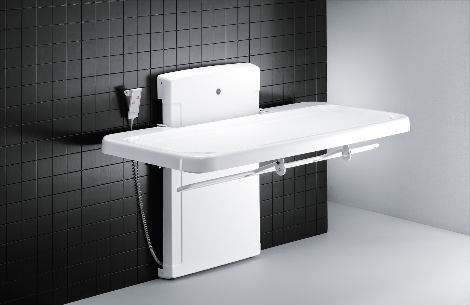Pressalit 2000 Bench with Safety Rail Folded Down