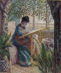 Madame Monet Embroidering