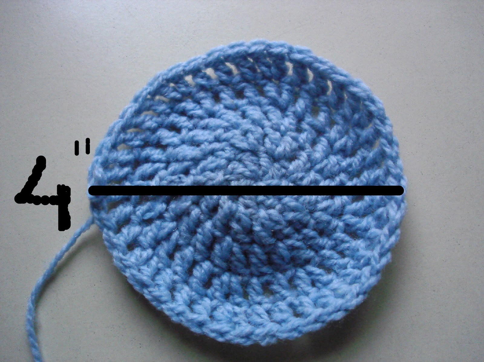 Crochet Hat Sizes : You have to stop expanding when you have reached a diameter of 4 ...