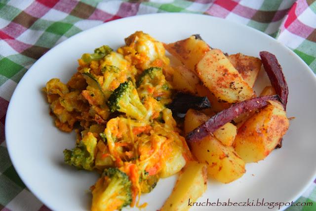 Indyk z dynią, marchewką, cukinią, brokułem i mozzarellą
