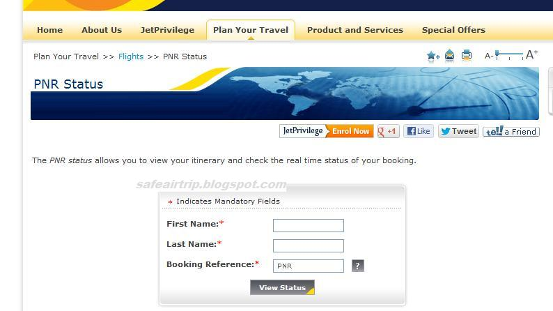 Jet airways pnr status