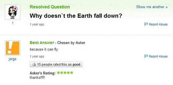 Hilarious Answers On Yahoo Answers