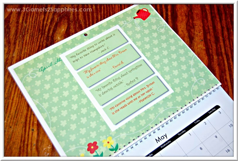 Teacher's Gift Idea - A wall calendar filled with quotes from the students about their favorite things!