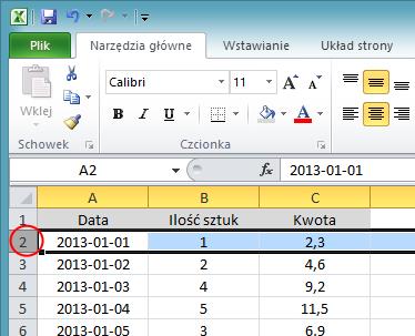 Blokowanie wiersza - screen Excel 2010