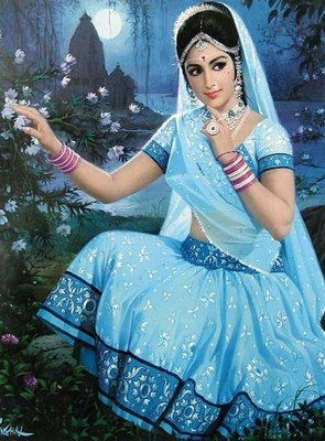 Indian Art Paintings: A Beautiful North Indian Village Girl