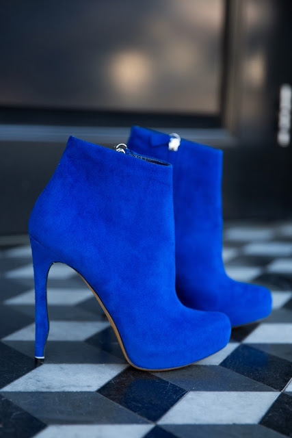 Blue Mid Calf Pumps