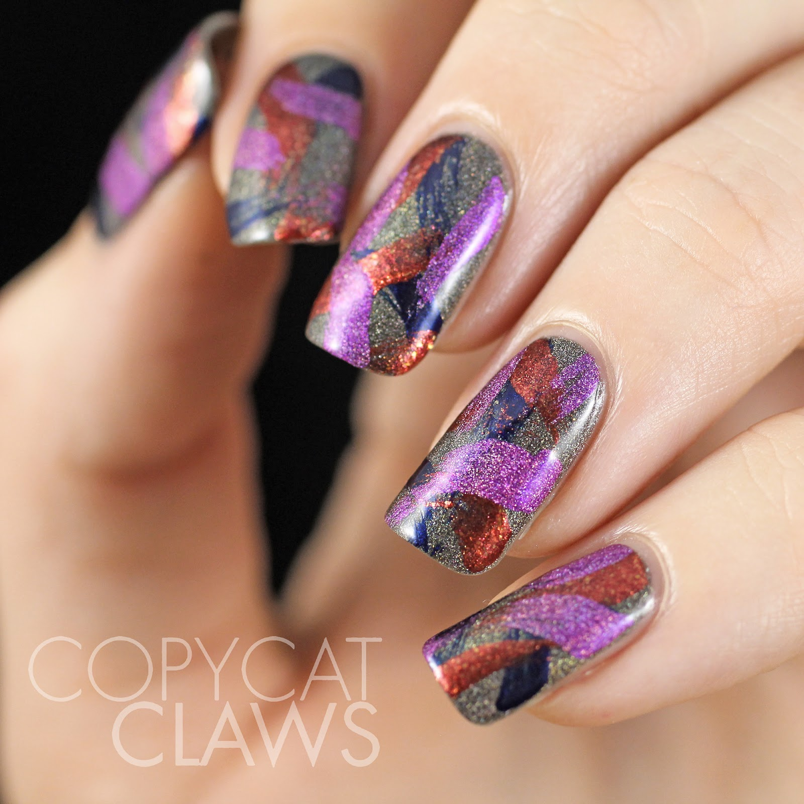 Copycat Claws Blue Color Block Nail Art: Copycat Claws: A England Brush Stroke Nail Art