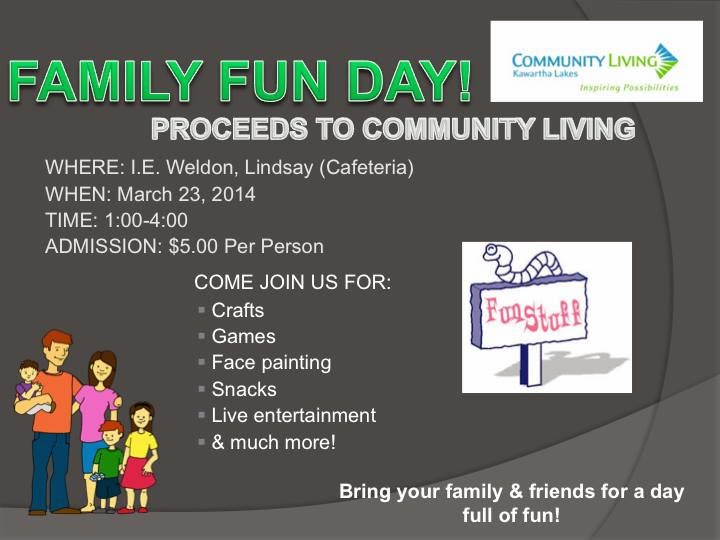 Poster March 25 Family fun Day Lindsay Kawartha Lakes Supporting Community Living
