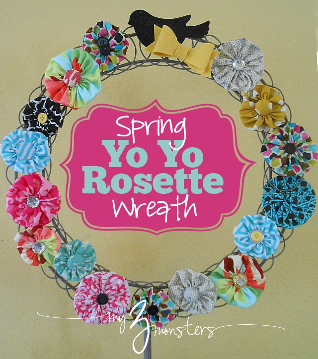 How to make a super easy bright spring wreath with yo yo rosettes