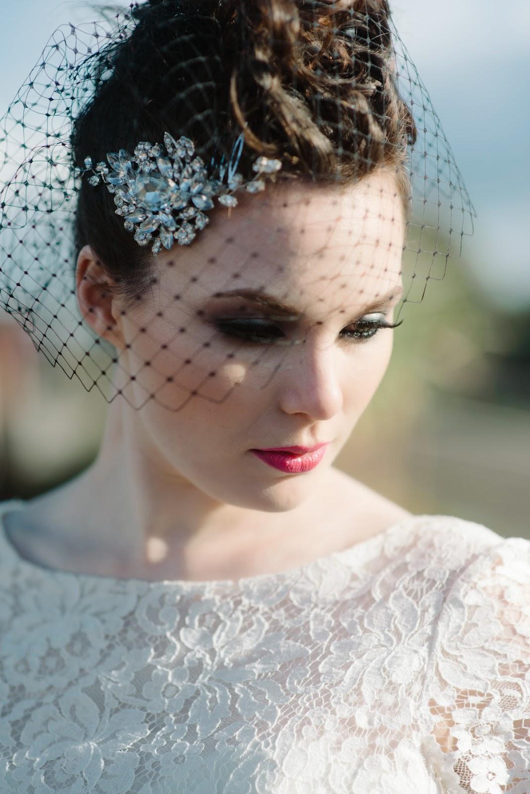 diamante wedding side hair,